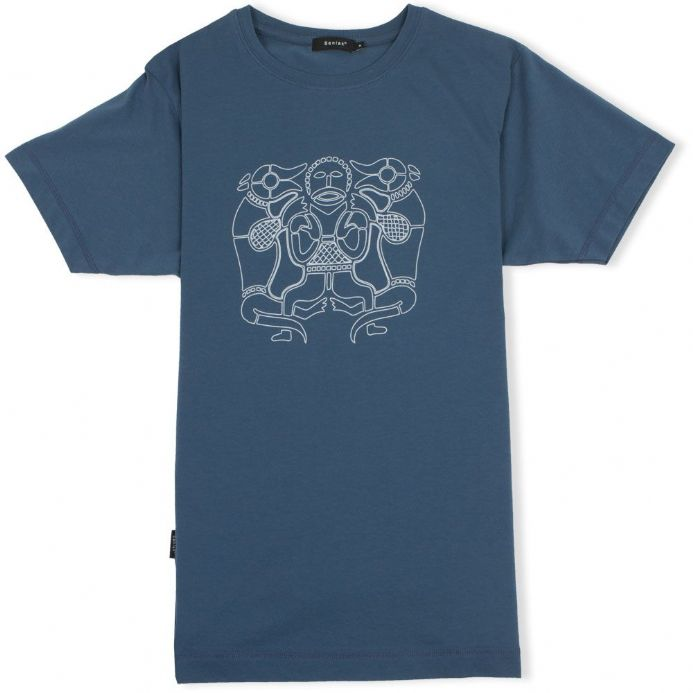 Tiw Old English God indigo t-shirt with Senlak branding on sleeve